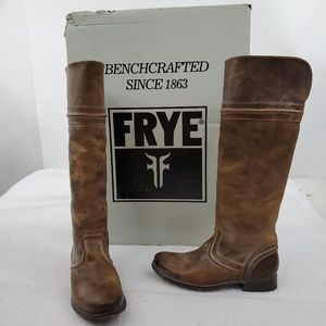 Frye Melissa Trapunto Boots 6 M Tan Brown Leather